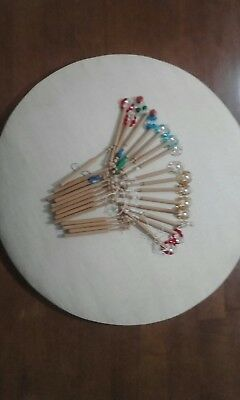 Bobbin Lace making pillow with hand turned bobbins and instruction book