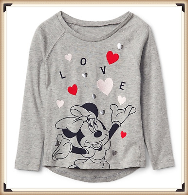 NWT babyGap Kids Girls Disney Minnie Mouse Long Sleeves Tee Shirt LOVE SZ 3 YRS