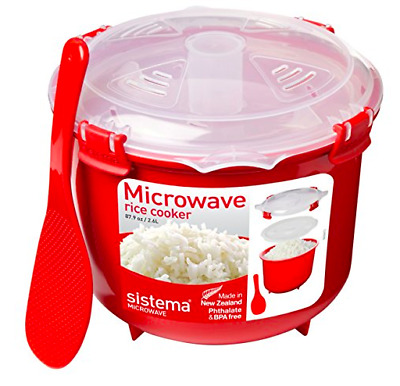 New Sistema Red Microwave Rice Steamer Pot Cooker for kitchen 2.6L