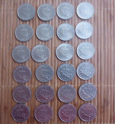 LOT OF 24 - FRANCE FRENCH -  1970's 1 FRANC COINS