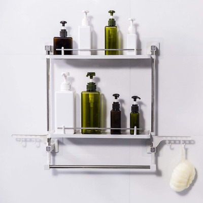 FFCAT Bathroom Shelf No Drilling 2 Tiers with Towel Rack and Hooks Kitchen Stora