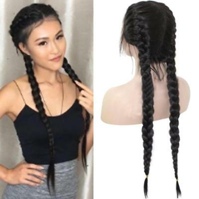 Synthetic Braids Lace Front Wig Hair Long Black Double Braided Wigs Nice