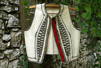 GREEK ANTIQUE AUTHENTIC TRADITIONAL MPOURAZANA THESSALY MALE VEST circa 1930 !!