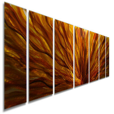 Large Abstract Red/Yellow/Orange Contemporary Metal Wall Art Decor by Jon Allen