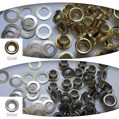 6.5mm Silver Gold Eyelets Grommets with Washers Leather Craft Banner Cards Bags