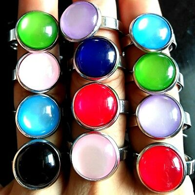 20pcs Women's Colorful Charm Round Opals Stone Silver Stainless Steel Party Ring