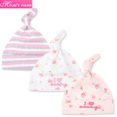 3pcs/set Newborn Baby Boys Girls Beanie Knotted Cotton Soft Infant Toddle Hat DS
