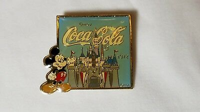 1985 Disneyland Mickey Mouse Coca Cola 1972 Sleeping Beauty Castle Lapel Pin