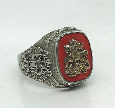"Russian Imperial 84 Silver Enamel Ring ""St.George"""