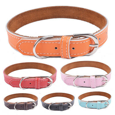 Genuine Leather Dog Collar For Small Medium Dogs Pet Necklace Size XS S M L