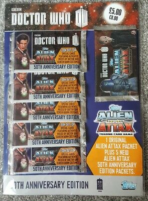 Topps Doctor Who Alien Attax 50th Anniversary BRAND NEW AND SEALED SIX PACKS.