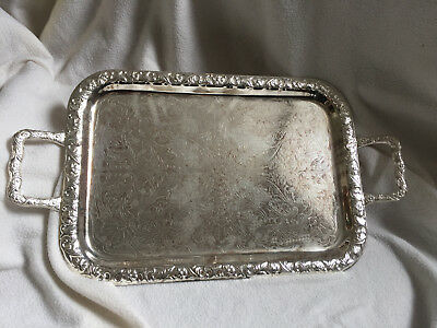 """VINTAGE Large Heavy Embossed Silver Plated Serving Tray 16 X 11"""""""