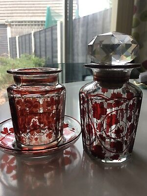 Antique Ruby Red Stained Glass Jar/Vase cranberry grape vine pattern