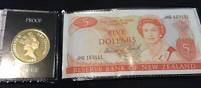 New Zealand Proof Issue $5 1st Coin & Five Dollar Banknote In Folder