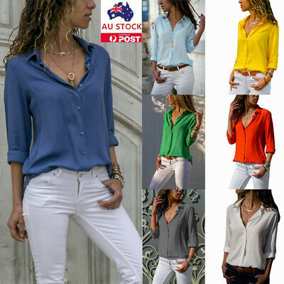 Women V Neck Long Sleeve Shirt Casual Loose Collar Button Up Ladies Work Blouse