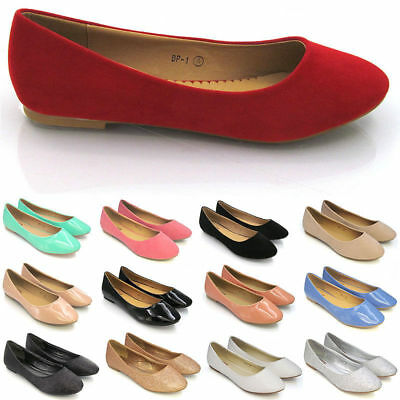 Womens Flat Pumps Ladies Casual Ballet Ballerina Dolly Bridal Lazy Boat Shoes AU