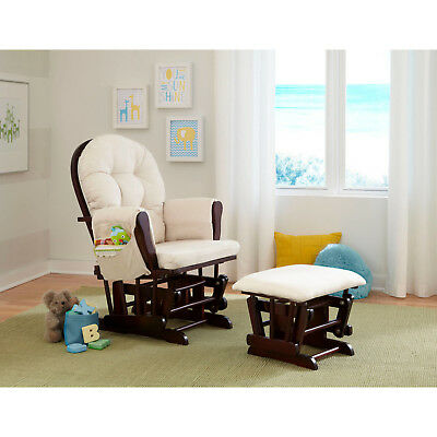 Baby Nursery Glider Rocker Breastfeeding Padded Rocking Chair with Ottoman