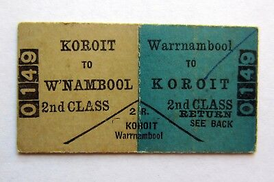 VICTORIAN RAILWAYS - Koroit to Warrnambool  - Second Class Return