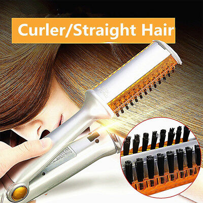 Professional 3 in 1 2Way Rotating Curling Iron Hair Brush Curler Straightener US