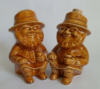 """Pair of Vintage Collectable Ceramic Widecombe Pottery """"Cheddar Men"""" Toby Jugs"""
