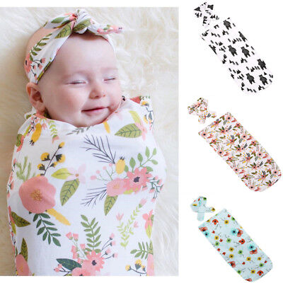 Fashion Newborn Baby Infant Swaddle Blanket Sleeping Swaddle MuslinWrap+Headband