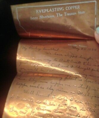 Letter written on solid sheet of copper 1934 Anaconda MT Everlasting Copper