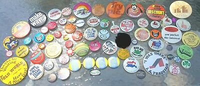 72 Vintage Novelty Pinback Buttons Lot FUN Nixon Women Treat Em Rough Michigan