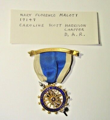14K Gold Daughters Of The American Revolution 19149 Caroline Scott Harrison Pin