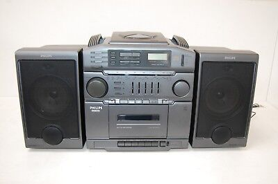 Philips Stereo CD Player, Radio, Cassette Recorder With Original Box - Used