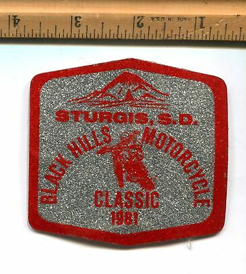 Vintage - Sturgis  S. D. Black Hills  Motorcycle Classic 1981 - Decal Silver/red