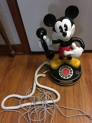 Disney Mickey Mouse Animated Rotary Phone; Works Nice Condition