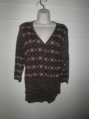 Lucky Brand Top Large BoHo Print Button down front used once!!