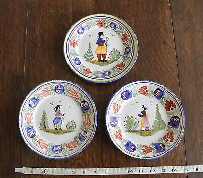 "3 x Henriot Quimper Plates F.176 D. Tradition 7 1/4"" 1 Plate with Chip"