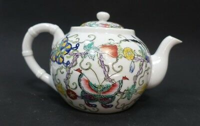 Mmm54 Vintage Asian Porcelain Teapot Decorated In Hong Kong - Butterfly