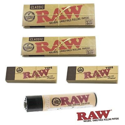 RAW bundle 100 Classic 1 1/4 papers ( 2 Packs ) , 100  RAW tips, 1 RAW Clipper