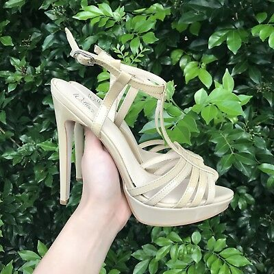 Wittner 'Macquarie' Nude Strappy Heels Platform 39 Sandals Patent Leather