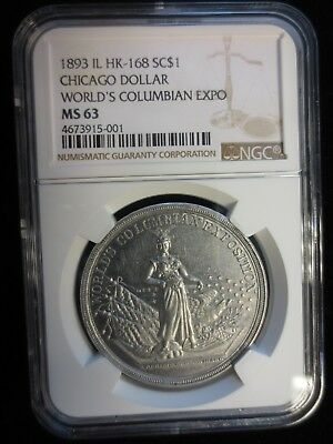1893 HK-168 IL, Chicago Dollar, World's Columbian Expo, NGC MS63, R5 (75-199)