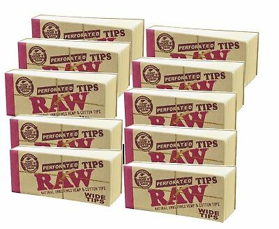 10 PACKS OF AUTHENTIC RAW ROLLING PAPER WIDE TIPS FILTER (50 Sheets per pk)
