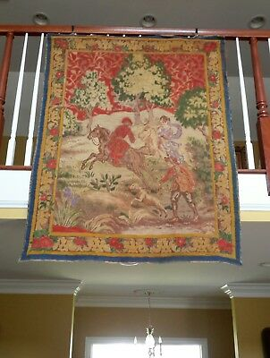 "Antique Tapestry Woven and Detail Painted French Rare 1890s 60"" by 46"""