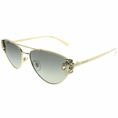 8ffad461637 Versace VE 2195B 125211 Pale Gold Metal Cat-Eye Sunglasses Grey Gradient  Lens