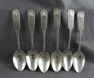 American Coin Silver set of 6 Coffee Spoons Sheaf of Wheat Peck Flagg Greenleaf