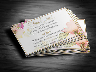 100 Professional Thank You Cards Ebay Poshmark Etsy 5 Star Seller Feedback