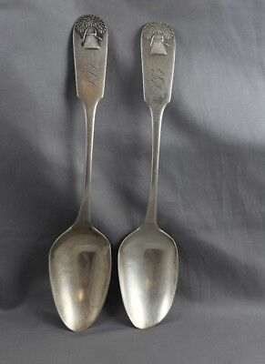 American Coin Silver pair Tablespoons Sheaf of Wheat George Flagg