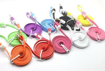 2M Flat Noodle Micro USB Lagerät Sync Data Kabel Cord for Samsung Phone