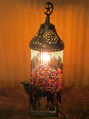 Vintage Syrian Middle Eastern Beaded Table Lamp With Brass Camel Base Bead