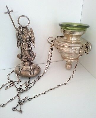 """Antique Russian Imperial Sterling Silver """"84"""" Icons Lamp Lampada 255.7 Grams."""