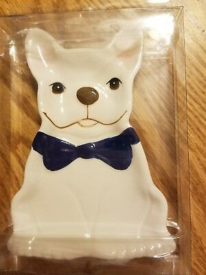 New French Bulldog with blue bowtie ceramic spoon rest