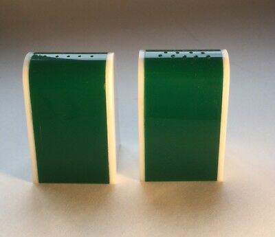 Dark Green Mid Century Art Deco Retro Salt and Pepper Plastic Shakers Vintage