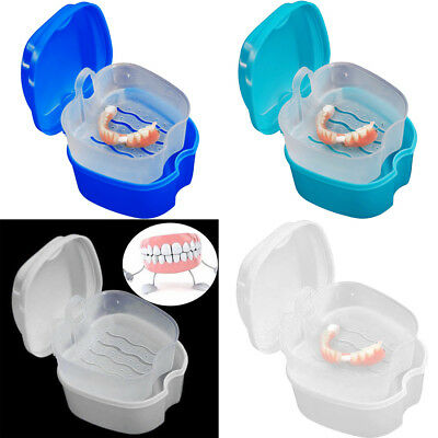 AU Denture Bath Cases Dental False Teeth Storage Box With Hanging Net Container