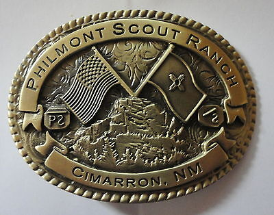 Philmont Scout Ranch Bronze Ribbon/Flags Belt Buckle - Boy Scouts of America BSA